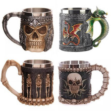 1Pcs New Creative 3D Skull knight Cup Striking Skull Warrior Tankard Viking Skull goblet Mug Gothic Helmet Halloween Drink ware