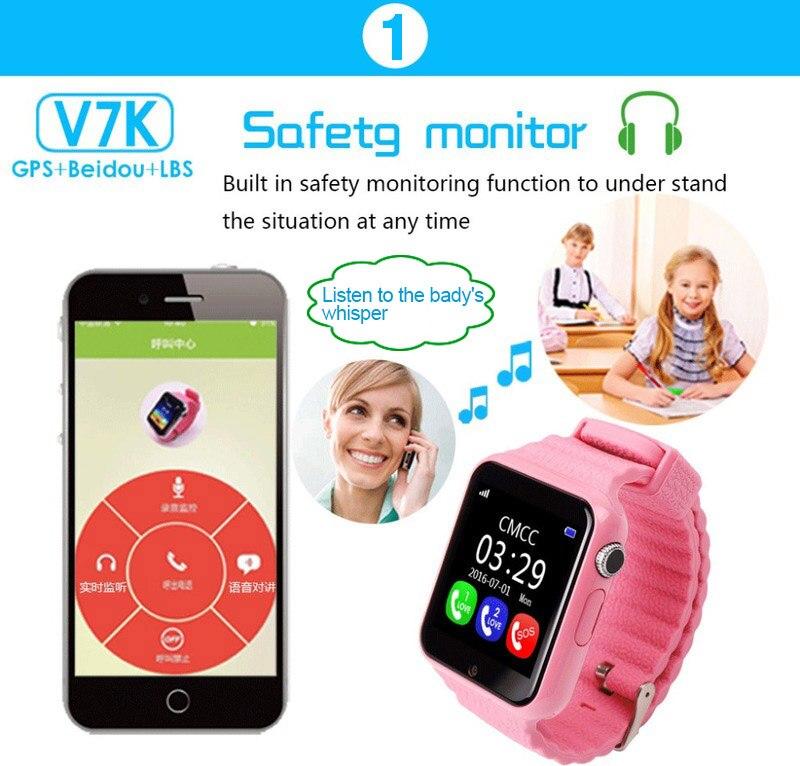 Image 5 - V7k Детские Смарт часы с GPS смарт детские часы для Детские умные часы расположение детских часов SOS Antil lost трекер вызова 2G карта PK Q528 Q80-in Смарт-часы from Бытовая электроника