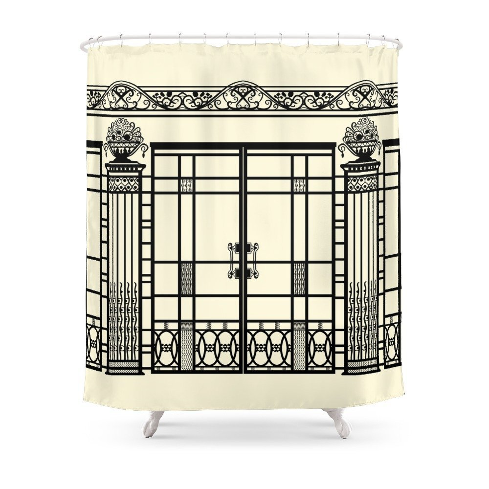 ART DECO, ART NOUVEAU IRONWORK: Black And Cream Shower