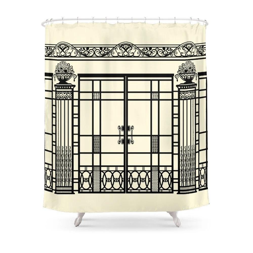 art deco art nouveau ironwork black and cream shower curtain polyester fabric bathroom home waterproof print shower curtains