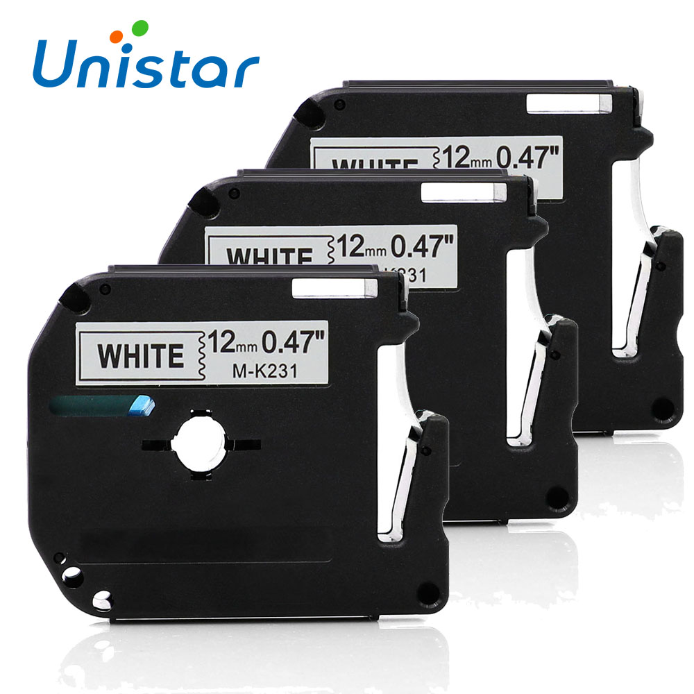 3PCS/Lot 12mm*8m M-K231 Compatible Brother M Tapes Label cartridge M-K231 MK231 Mk 231 for Brother P touch printer PT100 PT65