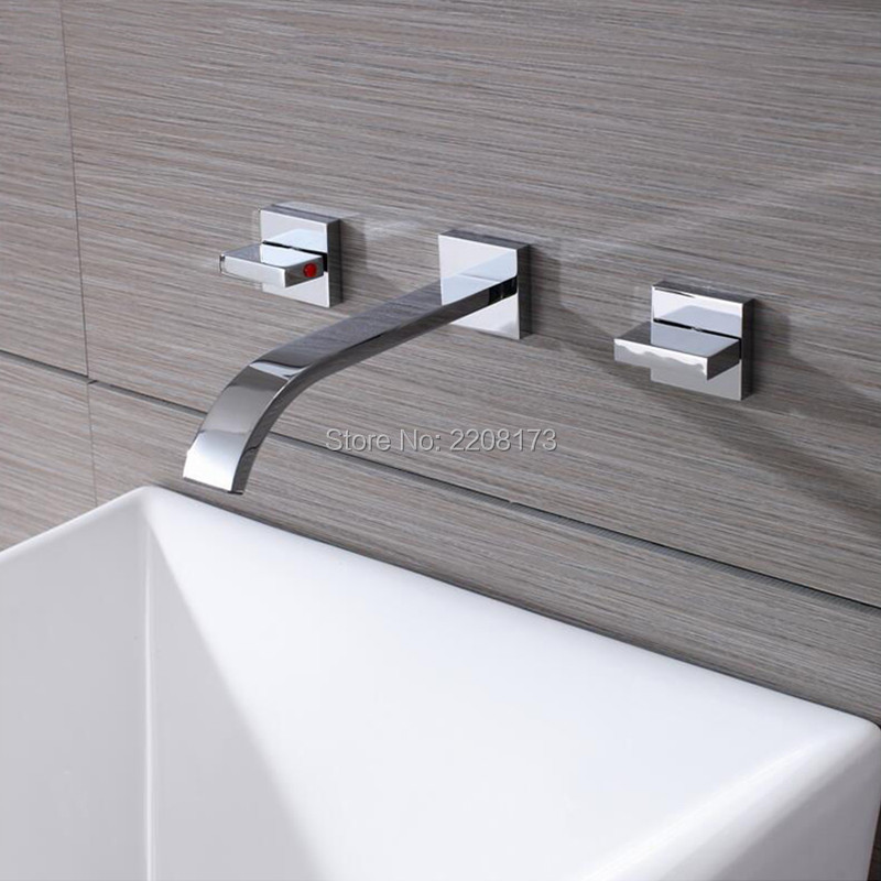 High Quality Chrome Brass Widespread Bathroom Basin Mixer Faucet Double Handles Wall Mount накладка andro hexer hd