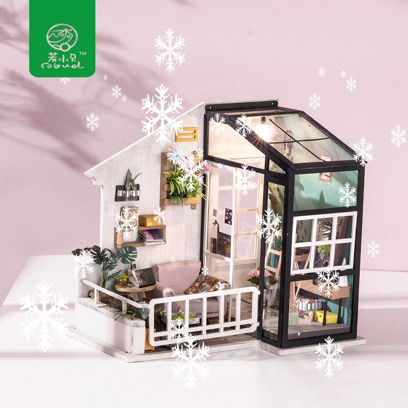 Robud деревянный кукольный домик с мебель и светильник DIY миниатюрный домик для кукол игрушки для детей идеальный подарок для мальчиков и девочек