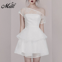 Max Spri 2019 Women Outfit Party Dress Off the Shoulder Mesh Ruffle Mini Dress White Party Clothing With Pearl Summer Dress white ruffle design off shoulder mini dress