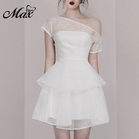 Max Spri 2019 Women Outfit Party Dress Off the Shoulder Mesh Ruffle Mini Dress White Party Clothing With Pearl Summer Dress