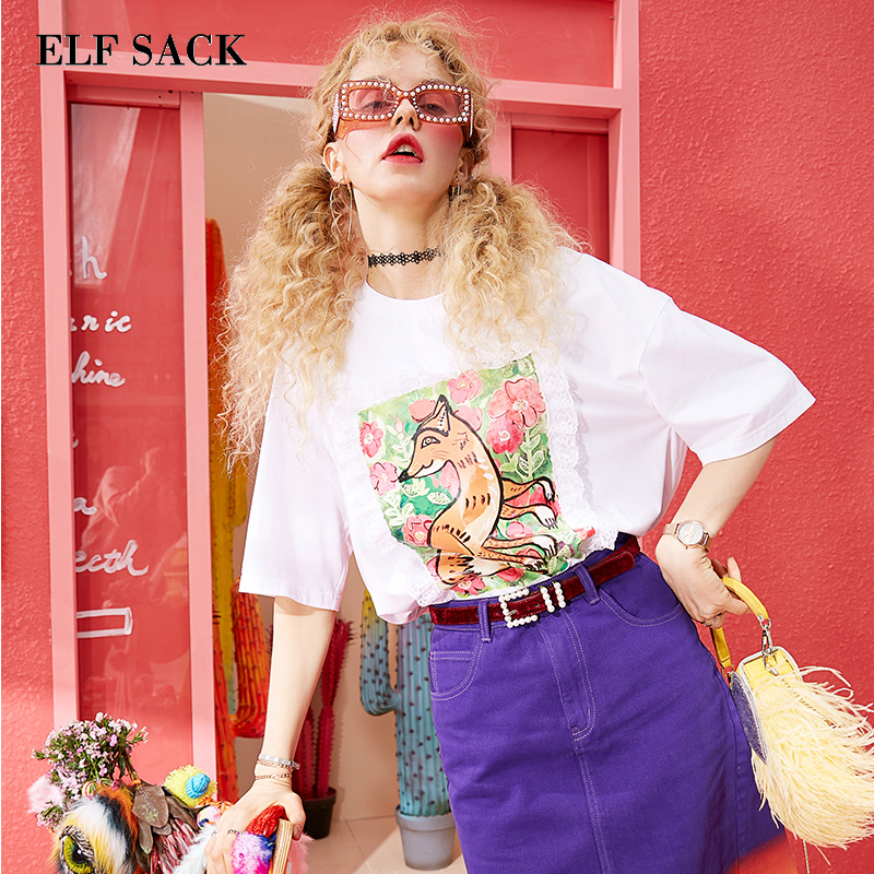 ELF SACK Cotton O Neck Woman Tops Animal Print Lace Patchwork Women T shirts Sweet Girl