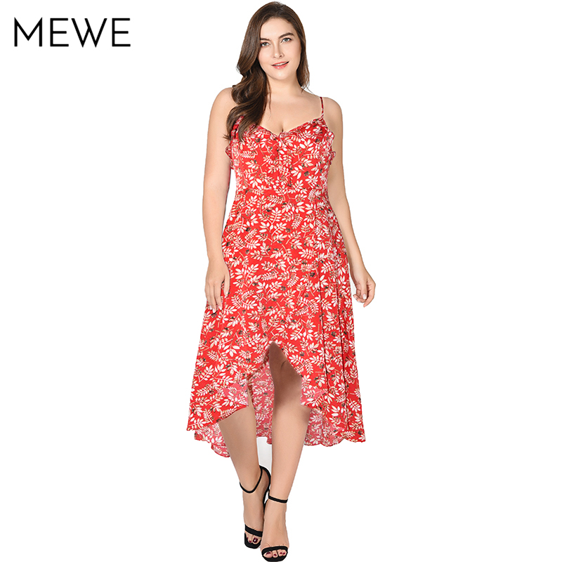 66429cd9b2d 2018 New Summer Bohemian Dress Leaf Print Sundress 5xl 6xl 7xl Ruffle  Vacation Maxi Dresses Asymmetrical