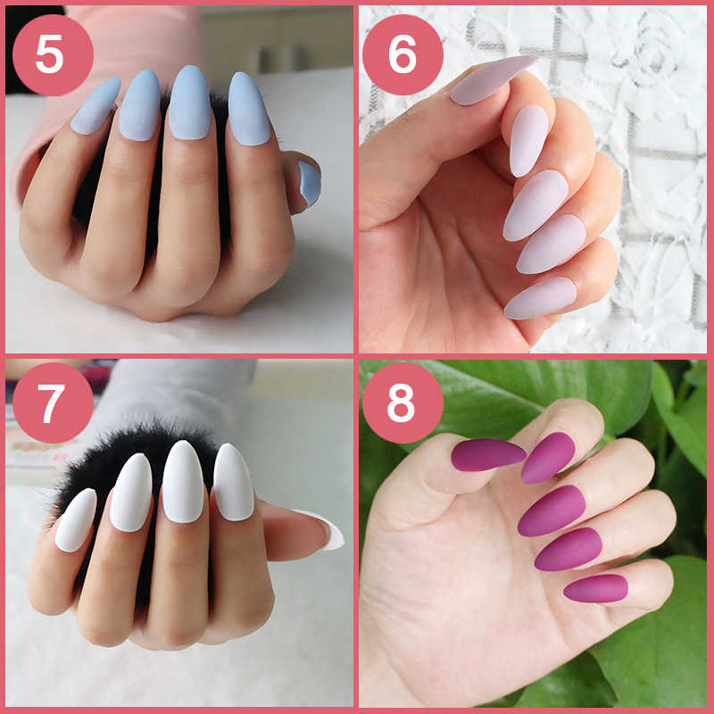 Detail Feedback Questions About 24pcsset Almond Shape Fake Nails