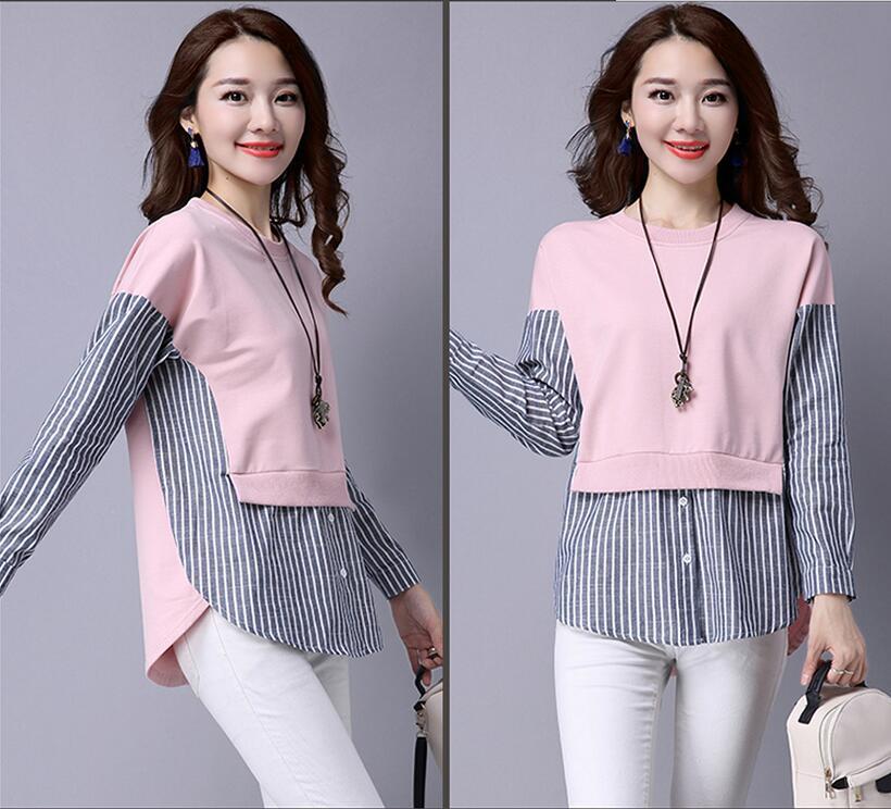 HTB172.cQXXXXXbcXFXXq6xXFXXXC - 2017 Spring Blouses Shirt Female Long Sleeve Casual Striped