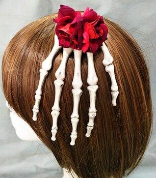 Antique Steampunk Jewelry Skeleton Hand Hair Clips Rose Flower Goth Hair Accessories Crystal Hairpins Handmade