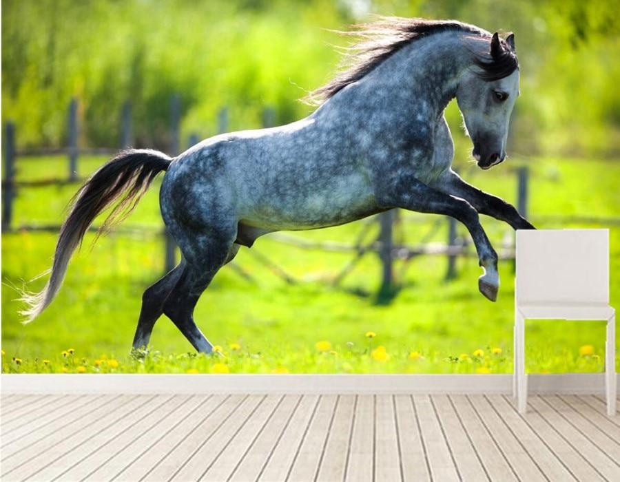 Papier peint Photo 3d, chevaux courir animaux grandes peintures murales, salle à manger tv canapé fond chambre 3d papier peint personnalisé papel de parede