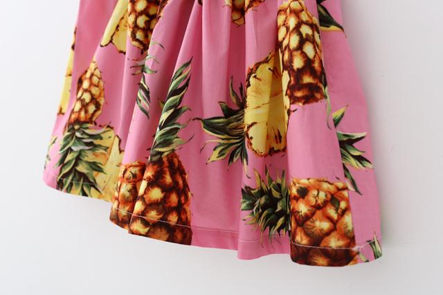 Summer Pineapple Girls Dress Pink Cotton Sleeveless Kids Dress Girls Beach Dress Fashion Kids Clothing Dress for Girls