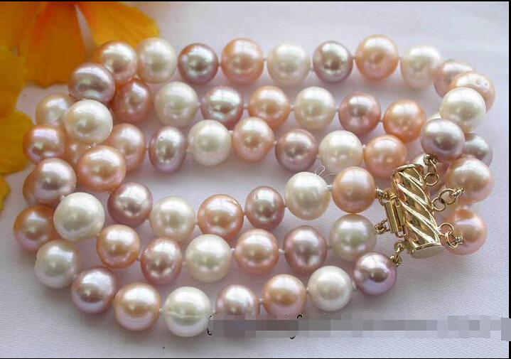 z2925 3row 10mm white pink purple round freshwater pearl bracelet @^Noble style Natural Fine jewe SHIPPING new >>free shippingz2925 3row 10mm white pink purple round freshwater pearl bracelet @^Noble style Natural Fine jewe SHIPPING new >>free shipping