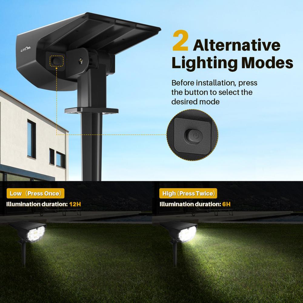 2 Pack LITOM 12 LED Solar Garden Light Upgraded IP67 Waterproof Lamp Outdoor 2 Lighting Modes 2-in-1 Adjustable Solar Spotlights