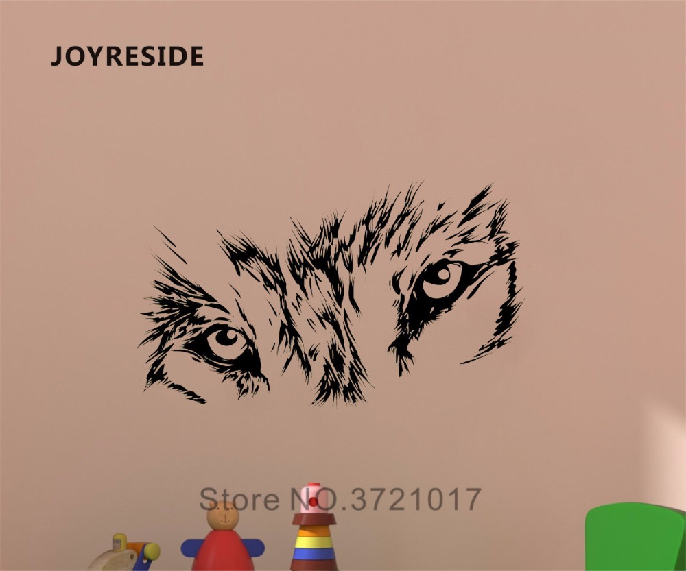Joyreside beast wild animal wall wolf eyes decal vinyl sticker decor home kids room bedroom living room interior art murals a302 in wall stickers from home