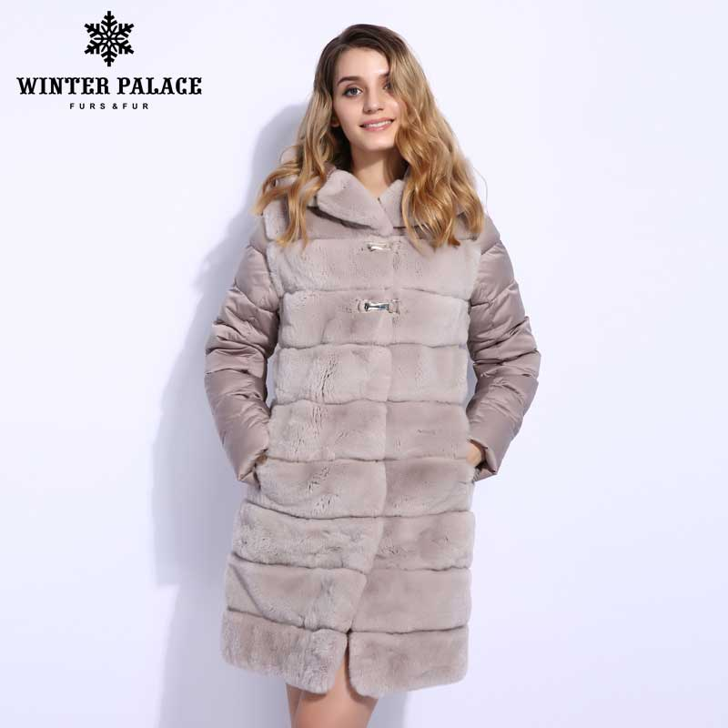 Winter Down Jacket Style Fur Coat Fashion Rabbit Fur Coat Classic Genuine Rabbit Coat For Women Rabbit Fur Vest WINTER PALACE
