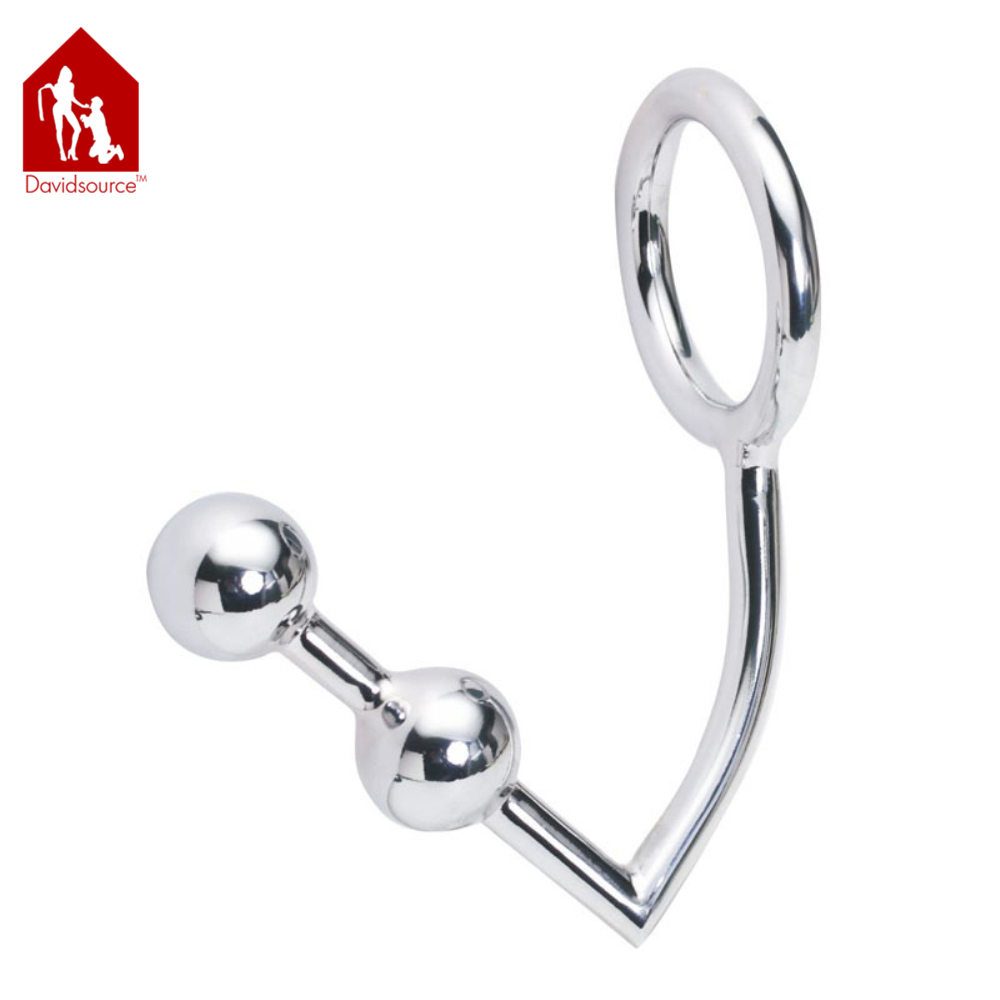 Davidsource 30mm Wide Metal Beads Butt Plug Ass Hook With Cock Ring Ass Anus Anal Sex Toy Fetish Men Sex Toy