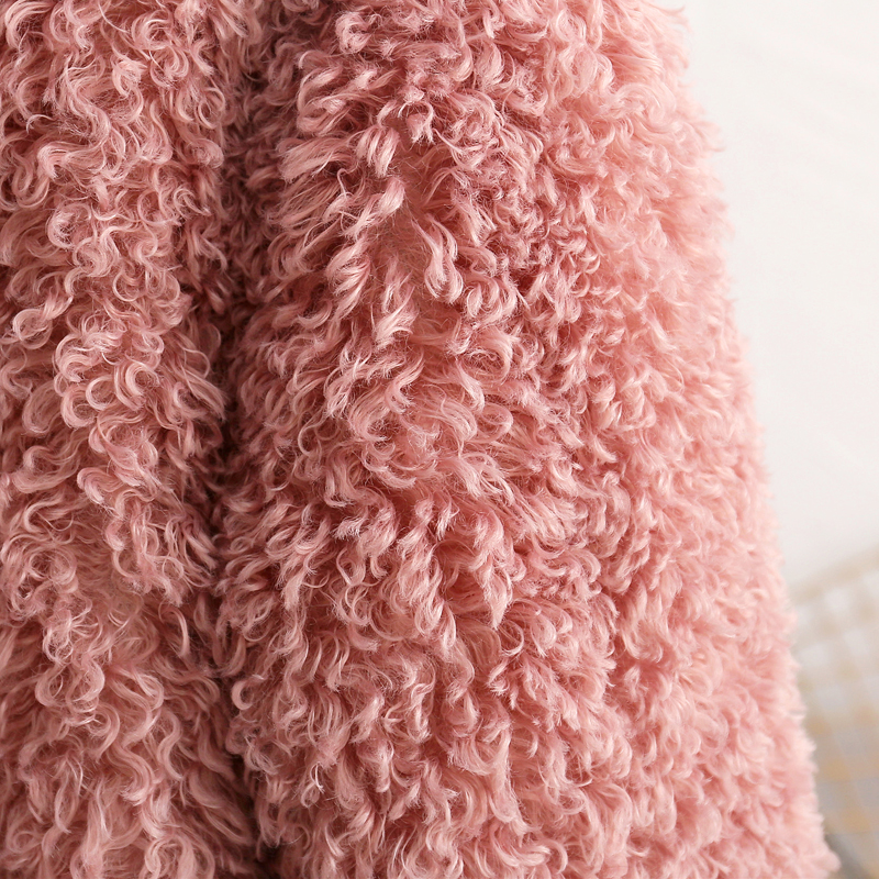 Fluffy Pink Teddy Faux Fur Coat Jacket Women Streetwear 2018 Fashion Winter Thick Warm Furry Overcoat Shaggy Outerwear Femme