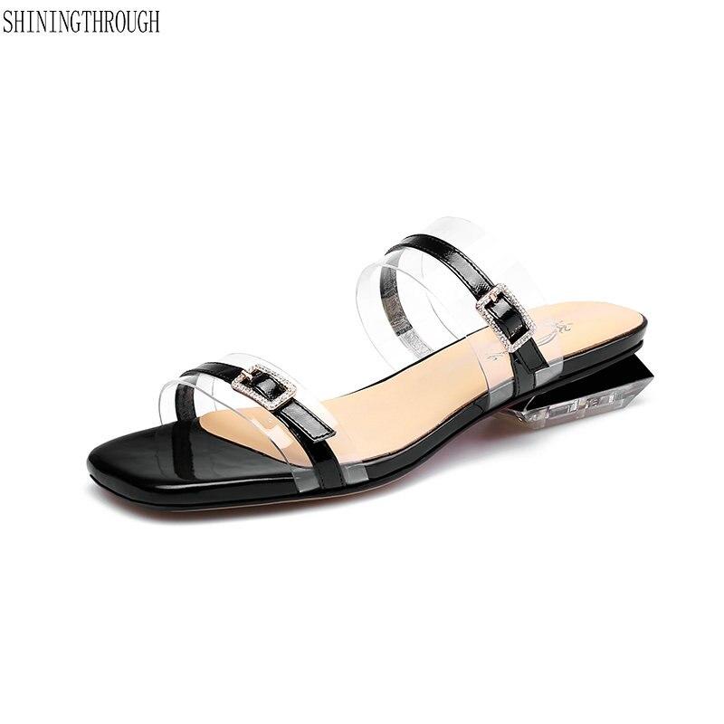 Bajo Vestido Tacón De Boda Sandalias Verano Zapatos Beige Señoras azul Transparente Mujer Las Buck Comodidad Zapatillas negro qzfwxx