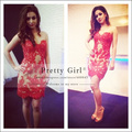 2016  Vestidos Short  Straight Red Lace Party Dress Strapless Elegant  Sweetheart  Lace Mini Cocktail Dress Celebrity Dress