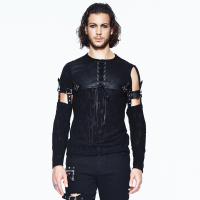 Punk Men's Long Sleeves T Shirt Gothic O Neck Black Tee Tops Sleeve Detachable Lace up Casual Tees