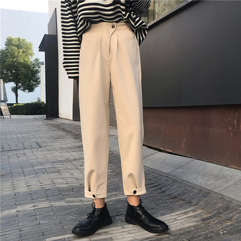 Mihoshop Ulzzang Korean Korea Women Fashion Clothing Spring High Waist Trousers Casual   Wide     Leg     Pants