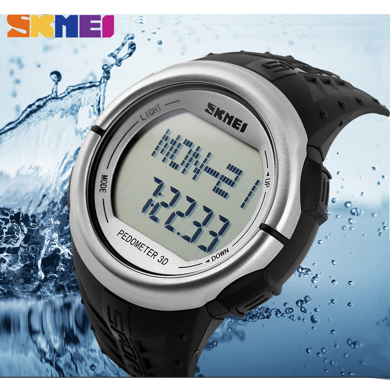SKMEI Men Heart Rate Sports Watches Pedometer Countdown Digital Watches Monitor Calories Wristwatches Relogio Masculino XFCS