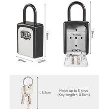 Nueva caja de almacenamiento segura con llave de bloqueo de combinación de 4 dígitos candado de seguridad para hogar suministros al aire libre DC128