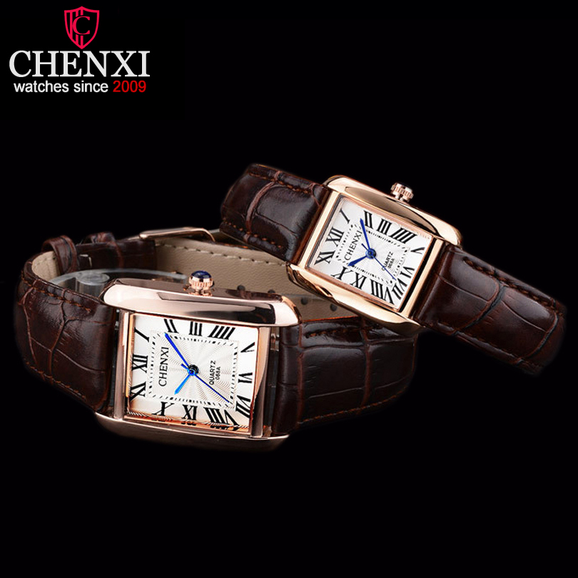 купить CHENXI Lovers' Watches Fashion Square Watch Ladies Waterproof Couple Watches Men and Women Leather Strap Quartz WristWatches недорого