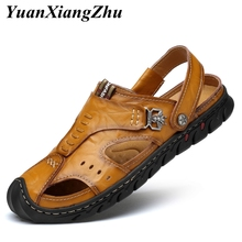 купить 2019 Fashion Men Sandals Genuine Leather Cowhide Men Sandals Summer Quality Beach Slippers Casual Sneakers Outdoor Beach Shoes дешево