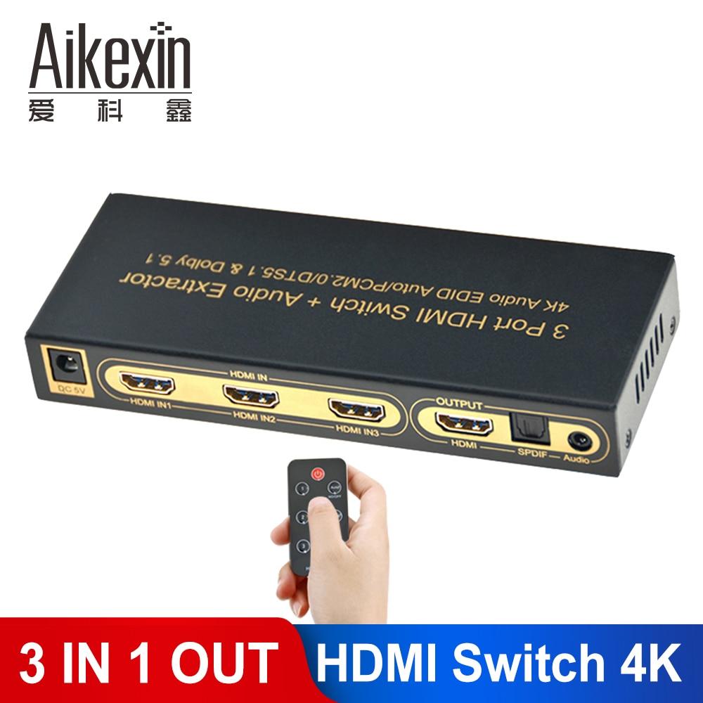 Commutateur HDMI Aikexin 3x1 avec extracteur Audio 4 K, commutateur HDMI 3 ports avec optique IR + audio 3.5mm pour XBOX 360 PS3 PS4
