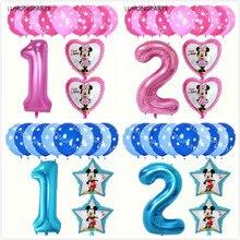 13 pcs 1 2 3 4 5 6 7 8 9 Minnie Mickey decorações do partido tema adequado para balão dot balão de látex da festa de aniversário infantil brinquedos