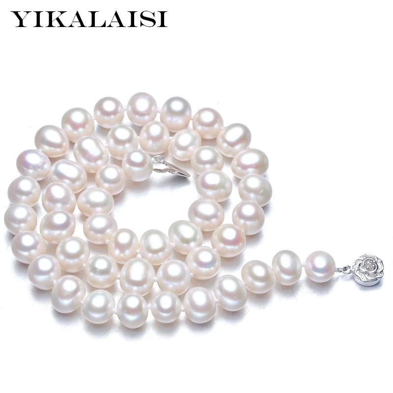 YIKALAISI 2017 նորաձևություն 925 ստերլինգ-արծաթյա զարդեր 100% բնական քաղցրահամ ջրային մարգարիտ չոկսե վզնոցներ լավագույն նվերներ կանանց հարսանիքների համար