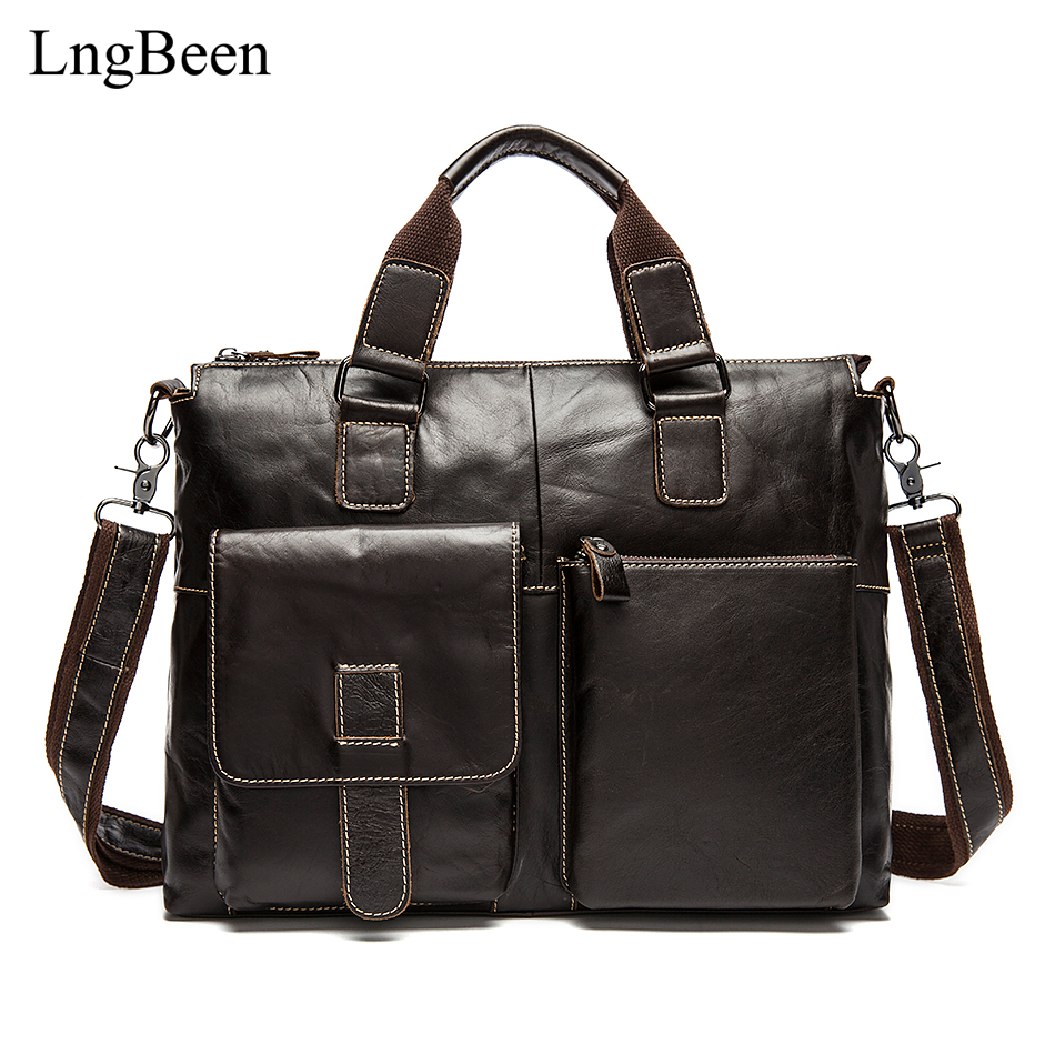 NEW Genuine Leather Coffee Men Briefcase 14 inch Laptop Business Bag Cowhide Men's Messenger Bags Luxury Lawyer Handbags LB260 цена и фото