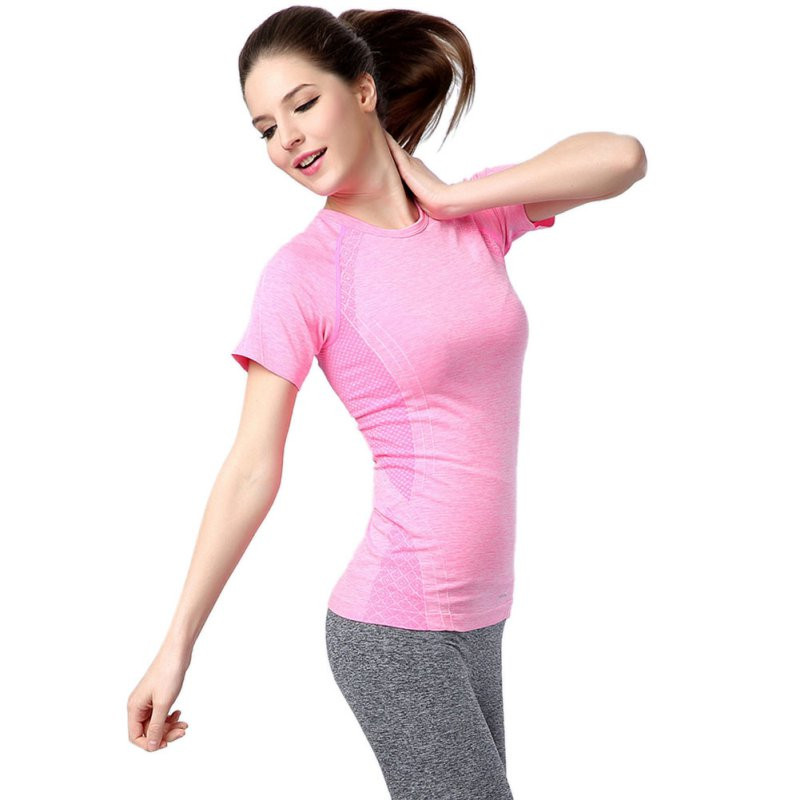 womens sport running short sleeve t-shirts Gym compression tights fitness women clothes Tops Drop Shipping