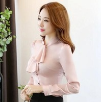 2017 New Fashion Women Blouses Sexy Formal Office Blusas Mujer Women Tops With Bow Plus Size