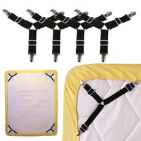 High Quality 4pcs Set Triangle Nickel Plated Adjustable Bed Sheet Cord Hook Loop Straps Fastener Holder