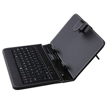 Top quality! 7 inch Universal Leather Case Cover with Micro USB Keyboard For 7″ Tablet PC Russian keyboard case