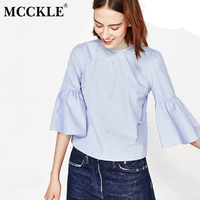 MCCKLE Women Elegant Pearls Beading Flare Sleeve Shirt O Neck Blouse Three Quarter 2017 Summer Brand
