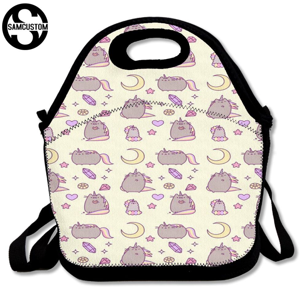 SAMCUSTOM 3D pusheen Fly to the moon Lunch Bags Insulated Waterproof Food Girl Packages men and women Kids Babys Boys Handbags aaa quality thermal insulated 3d print neoprene lunch bag for women kids lunch bags with zipper cooler insulation lunch box