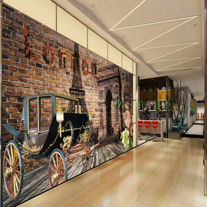 Custom photo wallpaper custom 3D Paris Tower classic car flower tooling background wall wallpaper living room lobby mural