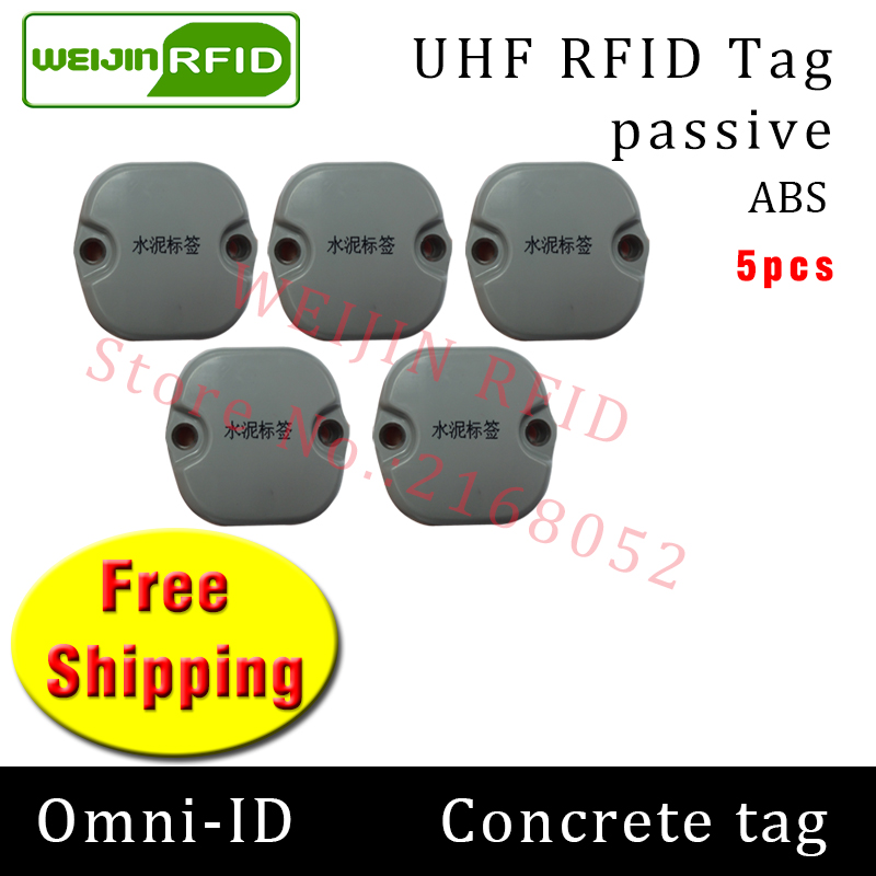 UHF RFID Concrete tag omni-ID 915mhz 868mhz Impinj Monza4QT EPC 5pcs free shipping durable ABS smart card passive RFID tags
