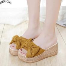Designer Women Summer Sandals Thick Heel Platform Wedges Sexy bowknot Slippers Sandal Slides women High Shoes M179