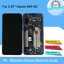 """5.97 """"Xiaomi MI 9 SE Mi9 SE 용 기존 M & Sen MI 9SE 디스플레이 용 프레임 + 터치 스크린 디지타이저가있는 AMOLED LCD 디스플레이 화면"""