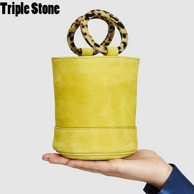 Nubuck Leather Bucket Bag Brand Design Bonsai Twin Resin Hoop Carry Handle Ring Circle Lady