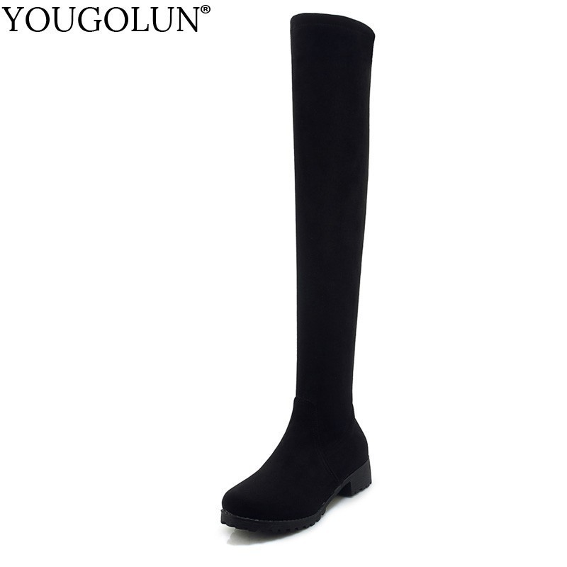 Low Square Heel Thigh High Boots Women Autumn Winter Ladies Lowland Shoes A235 Woman Black Round