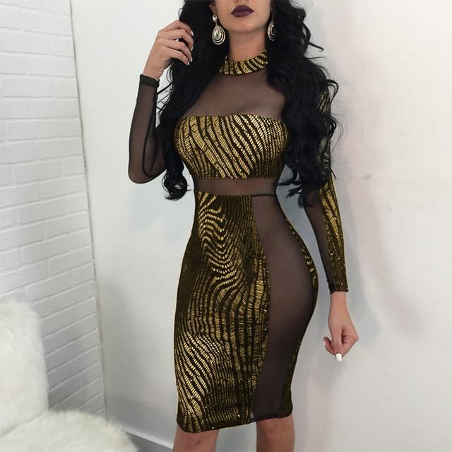 Women Shining Sexy Dress Long Sleeve Glitter Sequin Dress O-Neck Top Club  Dress Stretch a0c0f202f479