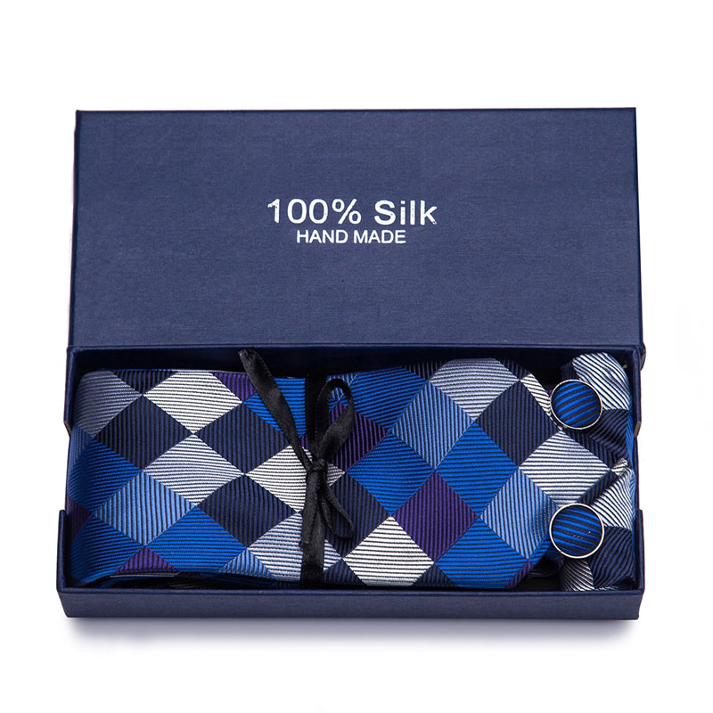 Gift Box New Quality Floral Wedding Tie Fashion Geometric Striped Paisley Silk Necktie and Pocket Square Set for Party Business in Men 39 s Ties amp Handkerchiefs from Apparel Accessories