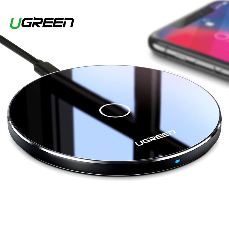 Ugreen 10 W Qi cargador inalámbrico para iPhone X XS X Max XR 8 Plus rápido almohadilla de carga inalámbrica para Samsung s8 S9 S9 + Nota 9 Xiaomi