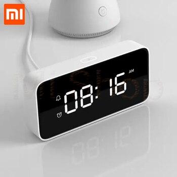 цена на Original Xiaomi Xiaoai Smart Alarm Clock Voice Broadcast Clock ABS Table Dersktop Clocks AutomaticTime Calibration Mi Home App